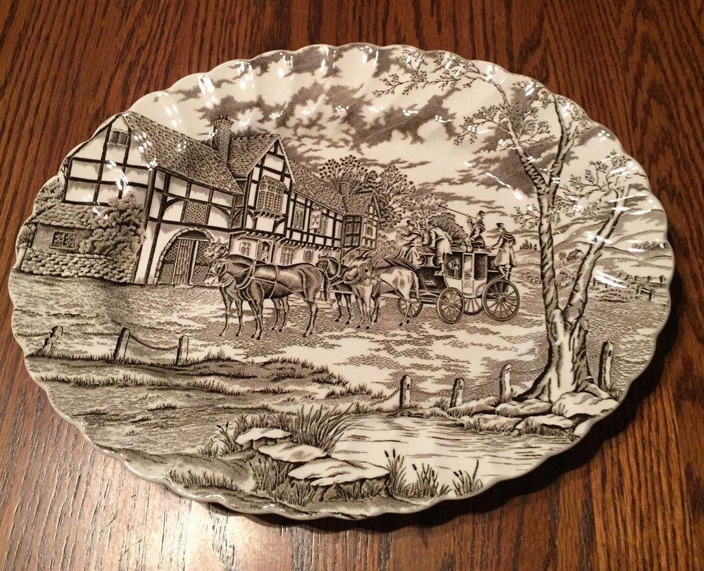 Vintage Staffordshire Ironstone Brown & White ROYAL MAIL Transfer Ware Platter