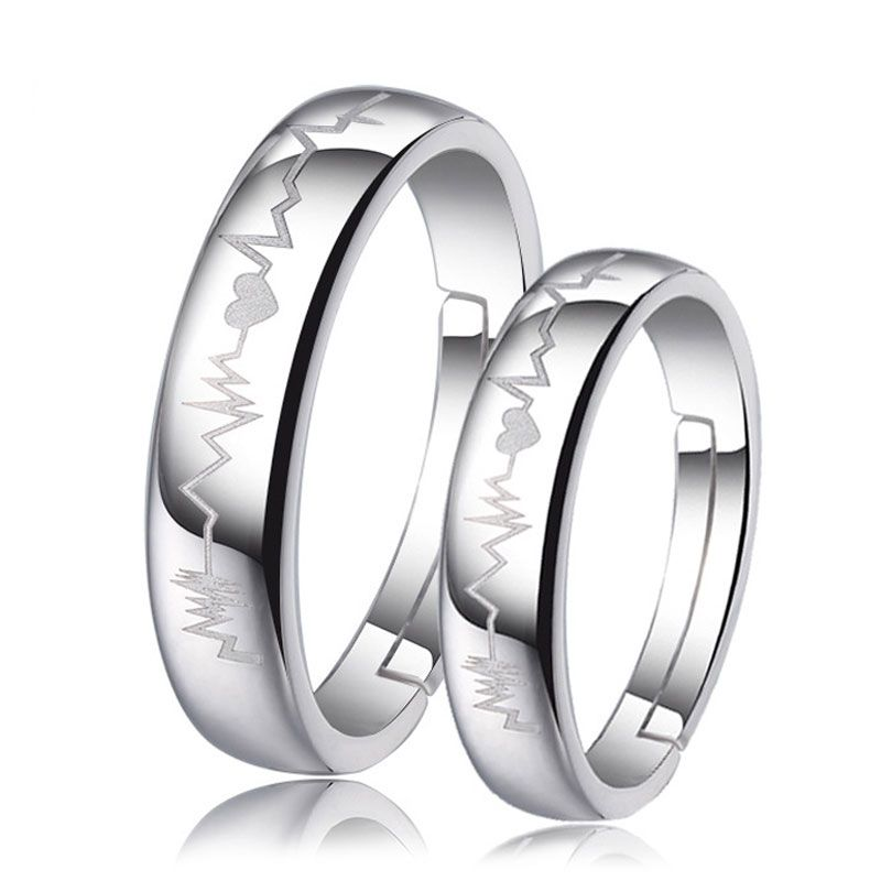 9250ff6445 Heart + Heartbeat Engraved Adjustable Promise Rings Set for Couples, Domed  Wedding Ring Band in 925 Sterling Silver, Matching Couple Jewelry for Him  and Her