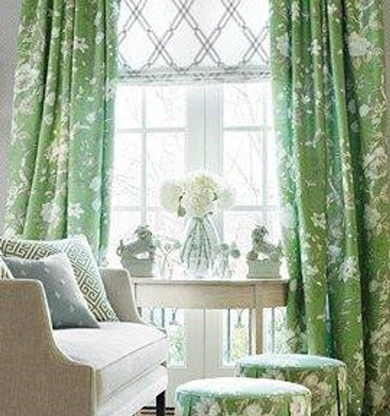 Green And White Ikat High End Designer Window Curtains