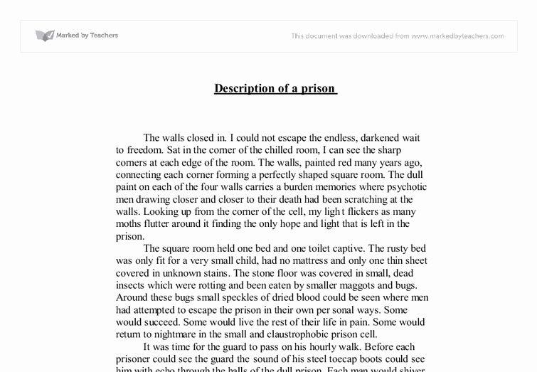 Sample Of Descriptive Essay Unique Piece Prison Gcse English Marked By Writing Example Short Description About Yourself A Person