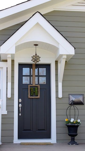 Good Exterior Paint Color Crownsville Gray HC 106 By Benjamin Moore   Nice Door  Overhang! These Colors Match Our House. We Used Storm Cloud Gray 2140 40  And Baby ...
