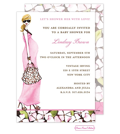 Fashionable mom pinkblonde invitation for baby shower girl pregnant momma baby shower invitation silhouette baby bump brown hair maxi dress in green from little angel announcements filmwisefo Images