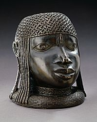 Sculpture - Benin Kingdom Commemorative Head of an Oba, 16th century Benin Kingdom Brass