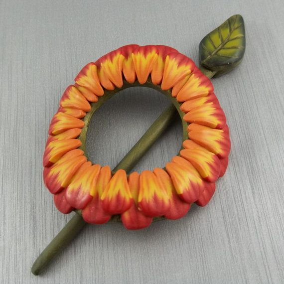 Floral Shawl Pin / Scarf Pin / Hair Pin in Autumn Red and Orange