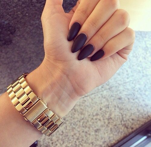 black matte pointy nails