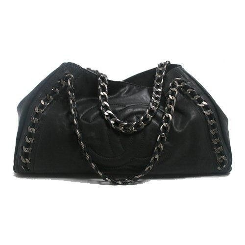 Chanel Black Leather Modern Chain Tote Bag