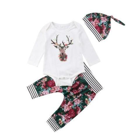 a38112bea2f8f Cute Newborn Baby Boys Girls Deer Tops Romper Floral Pants Xmas Outfits Set  0-2T