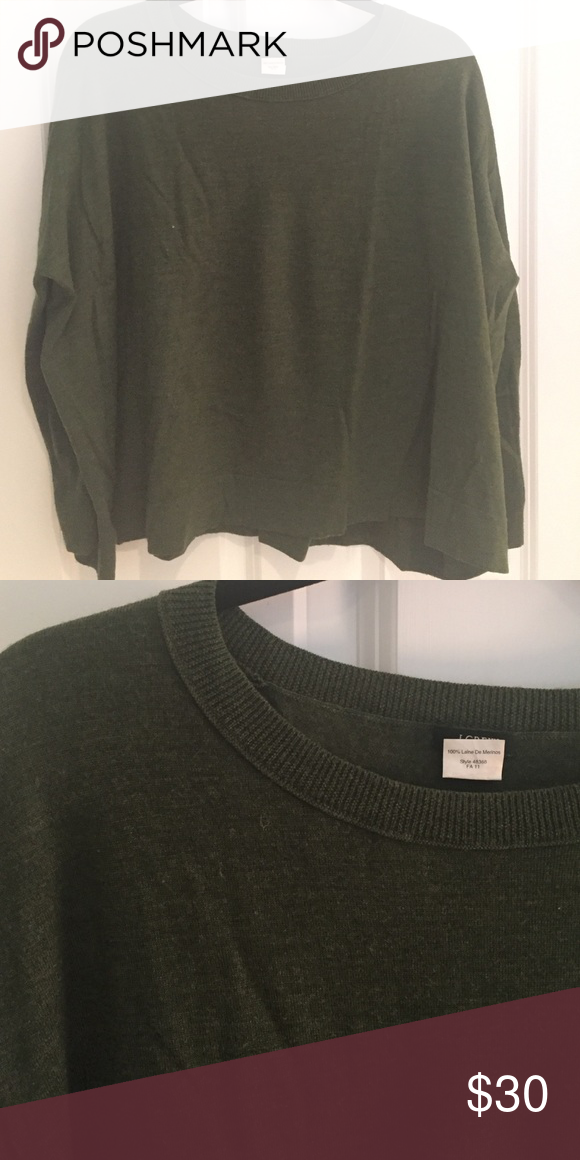 J. Crew sweater Light and loosely fitted sweater - very flattering. Size small. Dark green. J. Crew Sweaters Crew & Scoop Necks