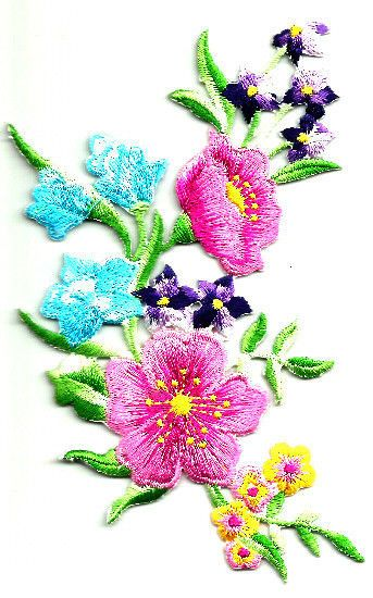 Spring Crafts Flowers Embroidered Iron On Applique Patch Multi Group