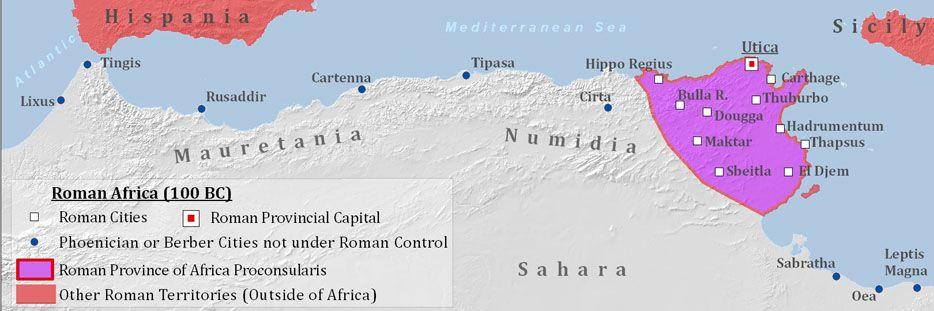 Roman Africa circa 100BC