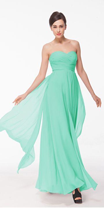 Mint Green Chiffon Prom Dresses Long | Mint green, Sweetheart prom ...