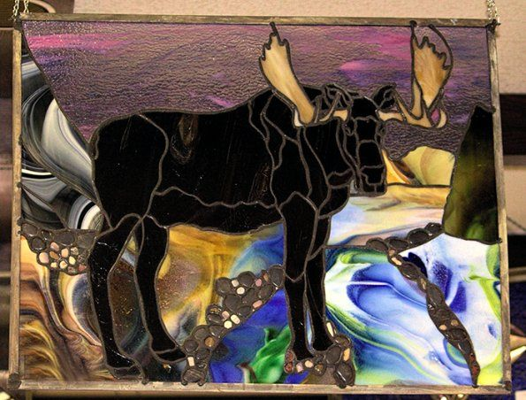 custum stained glass | ... Stained Glass | | Suzie's Custom Art | Moose with Art Glass Stained