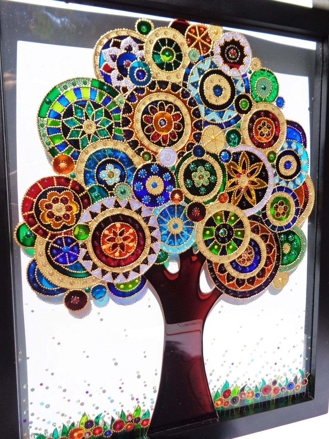 Tree Of Life Art 15x12 Bohemian Decor Wall Decor Glass Painting Doodle Art By Cozyhome1 On Etsy