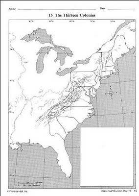 Free printable map of the 13 Colonies  Sonlight Core 100