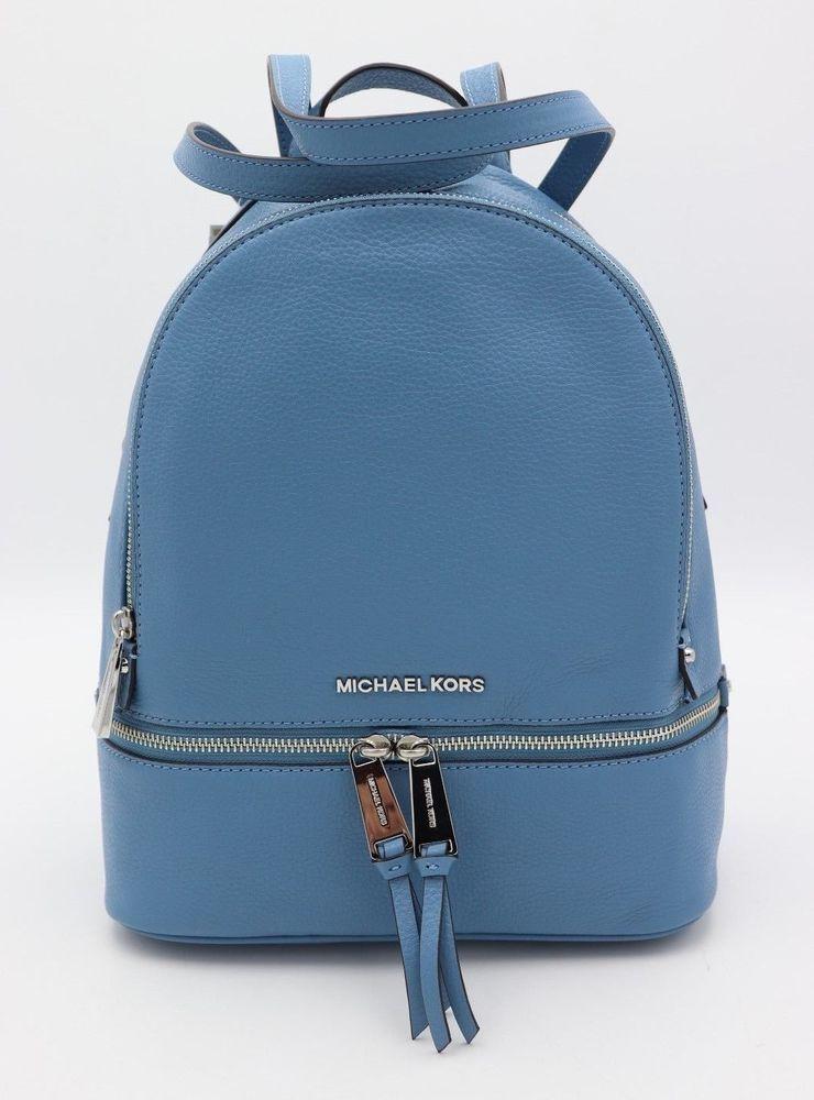 64e6cb84dfddd0 NWT MICHAEL Michael Kors Rhea Zip Sky Blue Leather Backpack Bag New # MichaelKors #Backpack