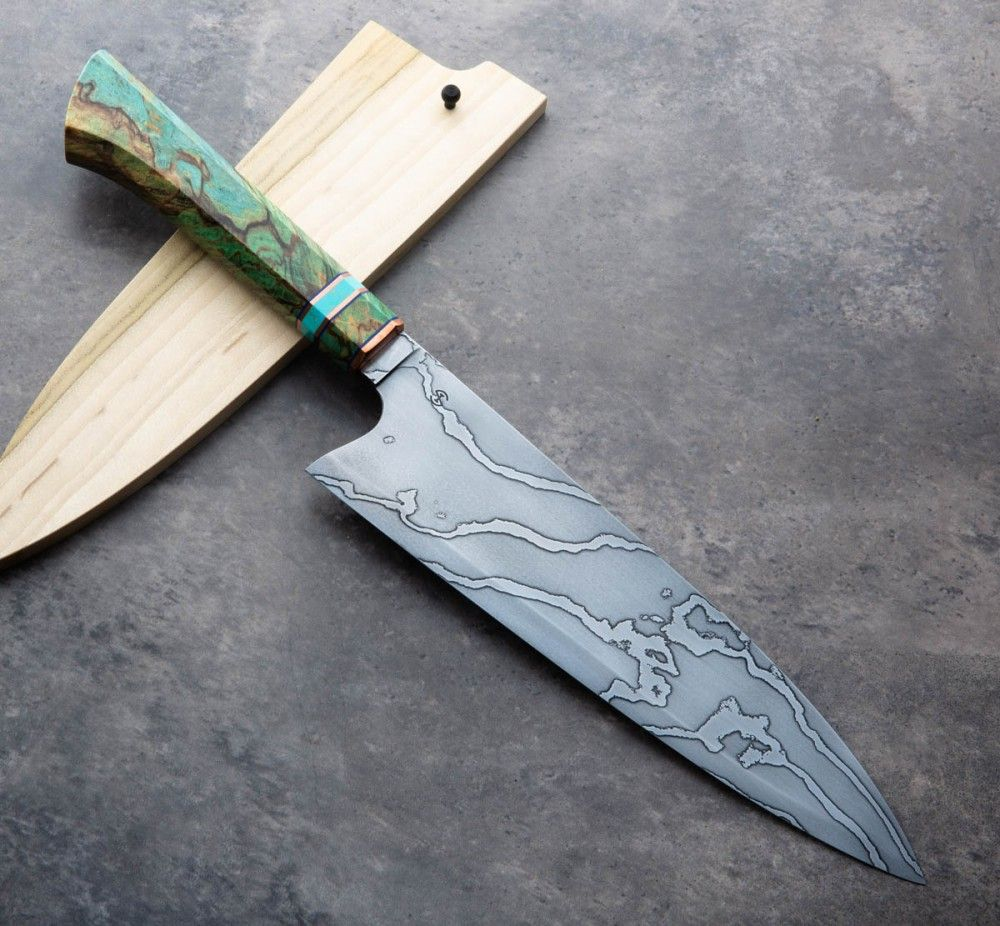 Birch Turquoise Damascus Chef 240mm Eatingtools Com Kitchen Knives Damascus Kitchen Knives Handmade Chef Knife