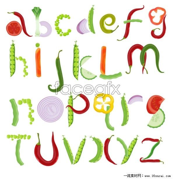 Fruit And Vegetable Alphabet Vector