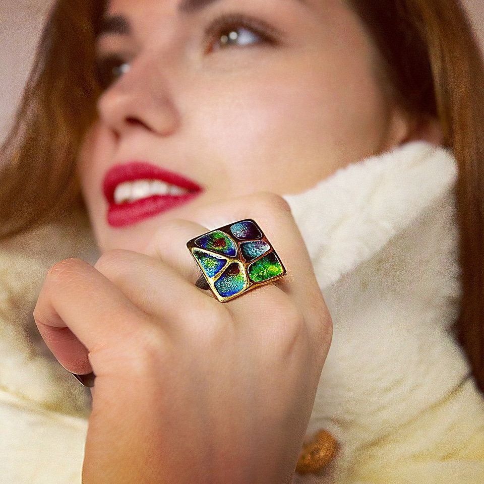 Rainbow•Dramatic Design•Super rings• Art Deco•Bridal Ring Vintage•Dainty Gold Ring• Midi Ring•Colorful Flower•Rainbow jewelry•Unique rings