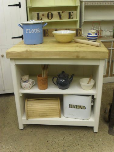 Handmade Freestanding Open Fronted Farmhouse Kitchen Cupboard Unit Island