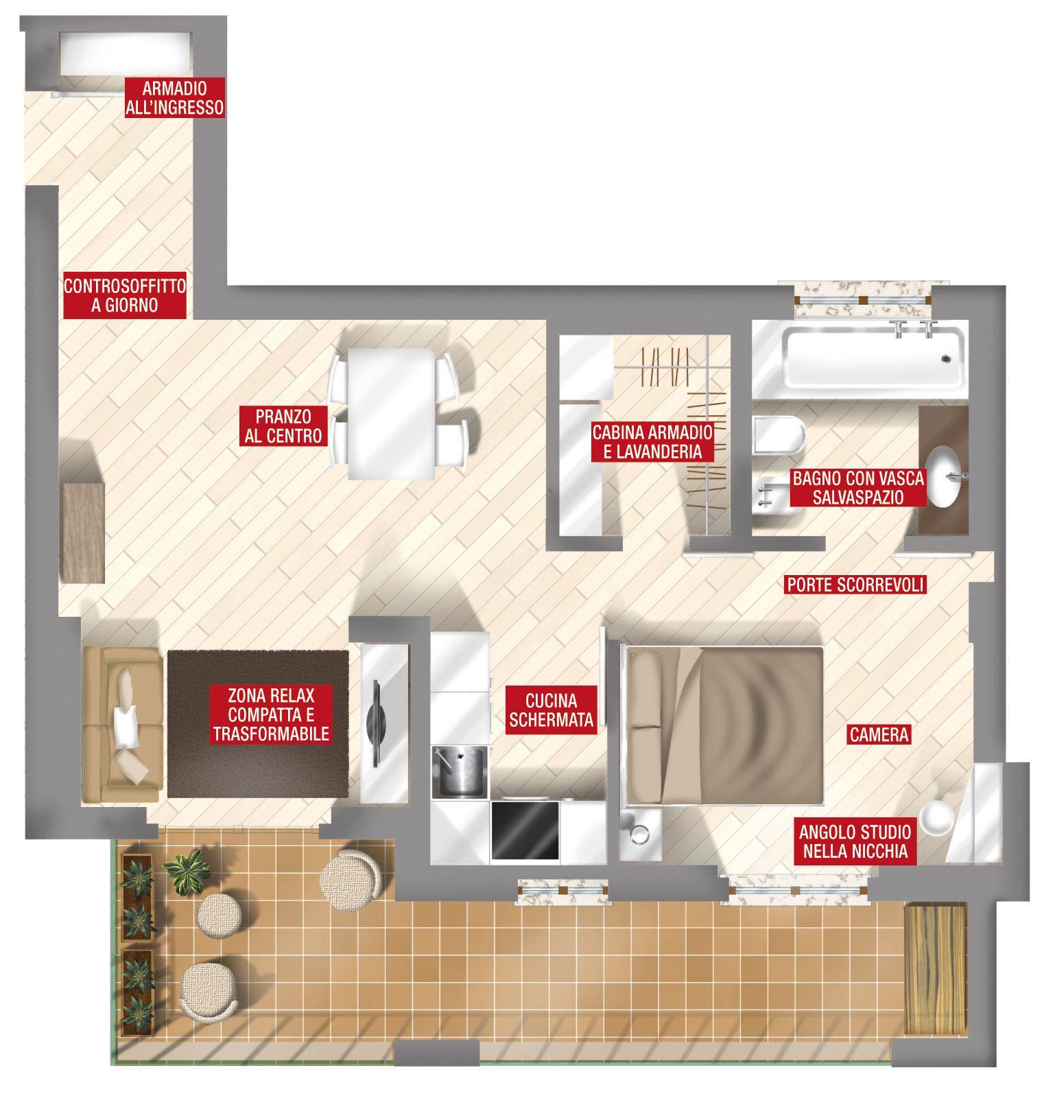 44 mq una stanza in pi in casa square meter flats and for Piani di cabina di tronchi di 2 camere da letto