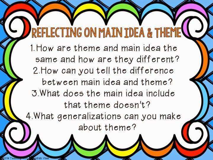 Teaching Main Idea Vs. Theme | Students, Anchor charts and School
