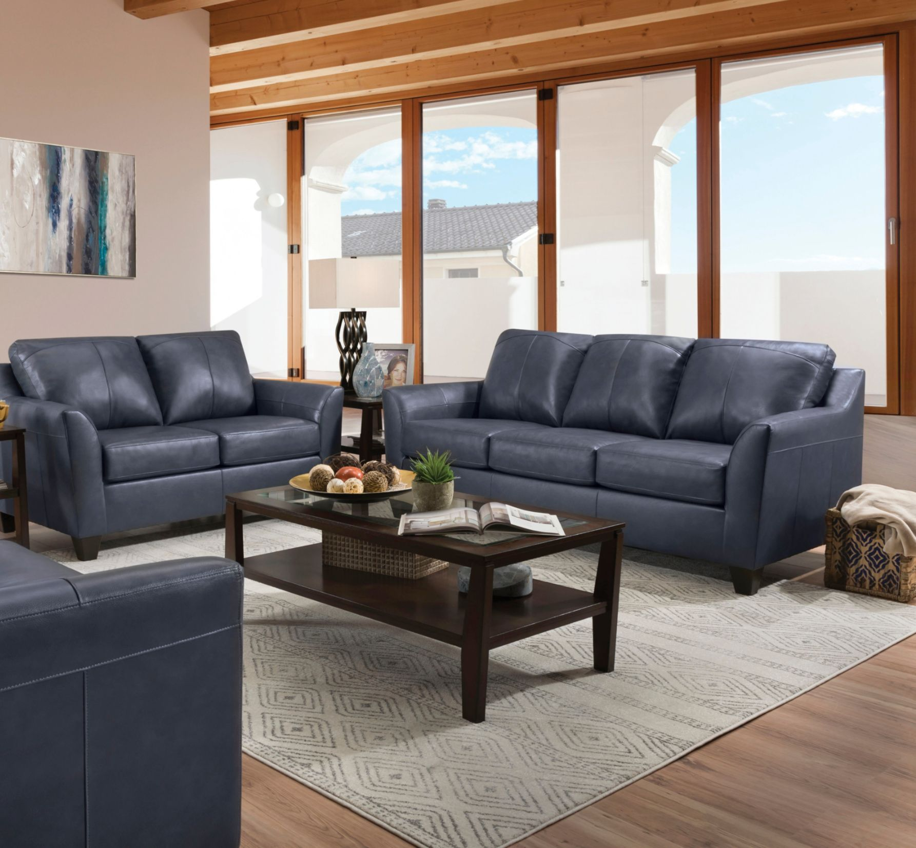 The Deco Leather Sofa Comes In A Gorgeous Shade Of Slate Blue