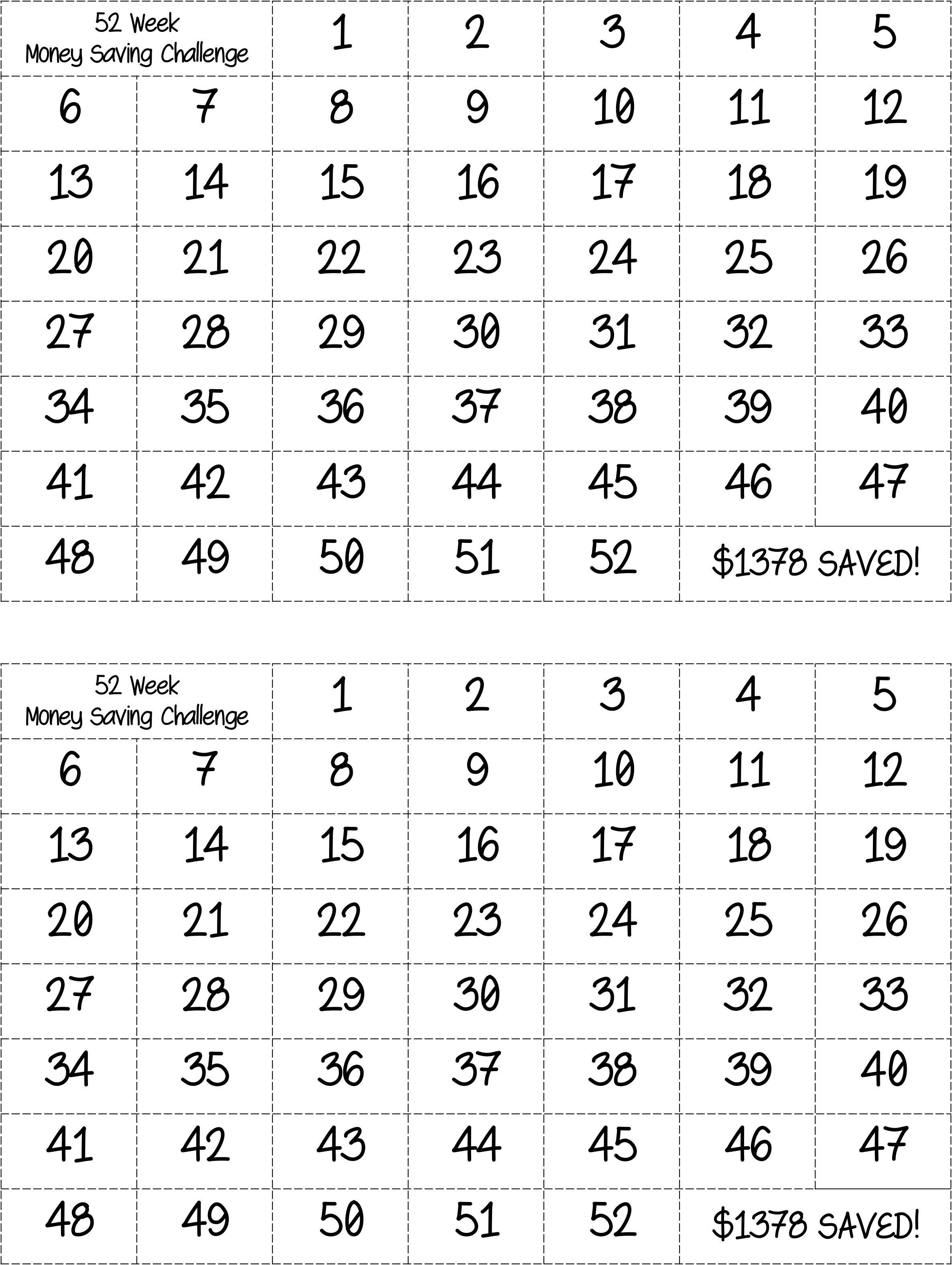 Bingo Style  52 Week Money Saving Challenge Prints Two