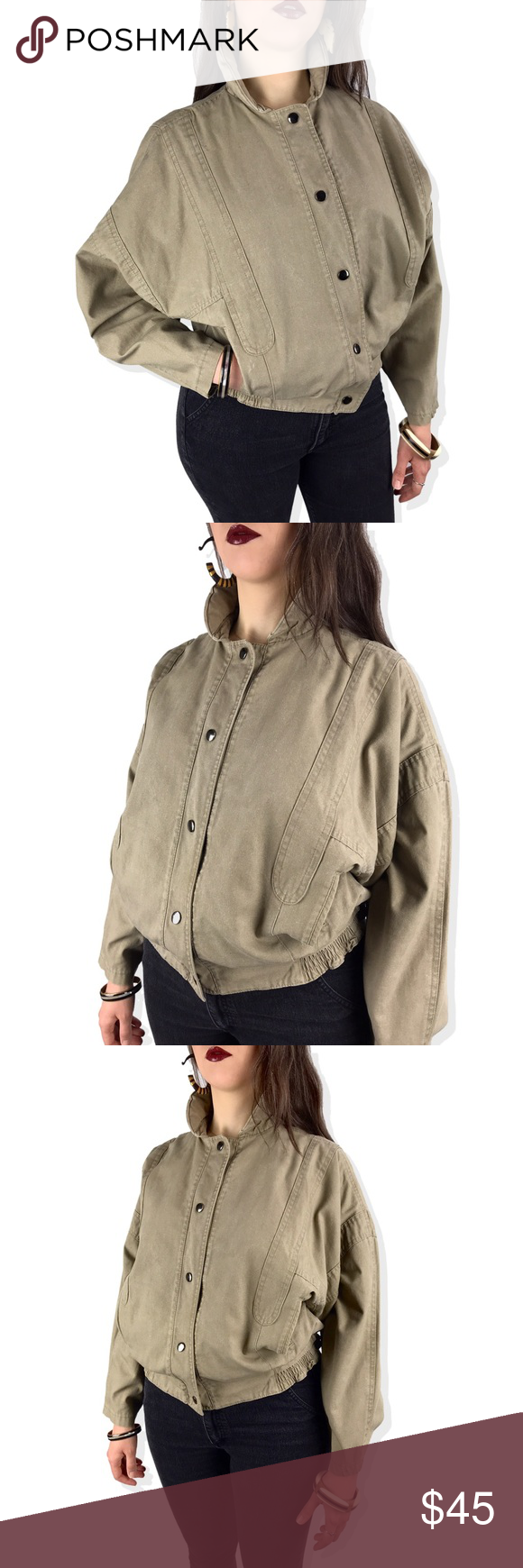 Vtg Khaki Batwing Cropped Denim Jacket Cropped Denim Jacket Cropped Denim Vintage Denim Jacket