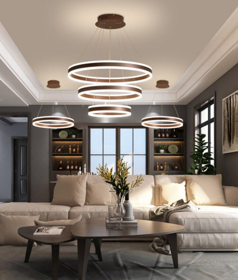 Post Modern Coffee Brown Aluminum Ring Suspension Pendant Etsy Accent Lighting Living Room Ceiling Lights Living Room Led Living Room Lights