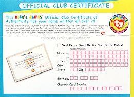 BBOC Gold Membership Kit application for official certificate - back