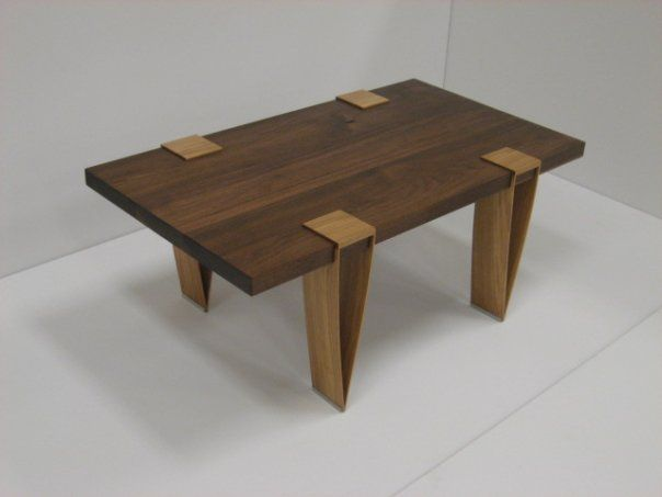 "Coffee Table, ""Architect #1"": walnut, hickory, & padauk"