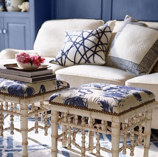 Bamboo stools with chinoiserie fabric