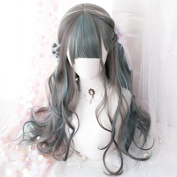 Photo of Gradient Green Grey Wave Long Wig SD00447