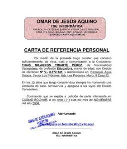 carta de referencia personal formatos y modelos legales