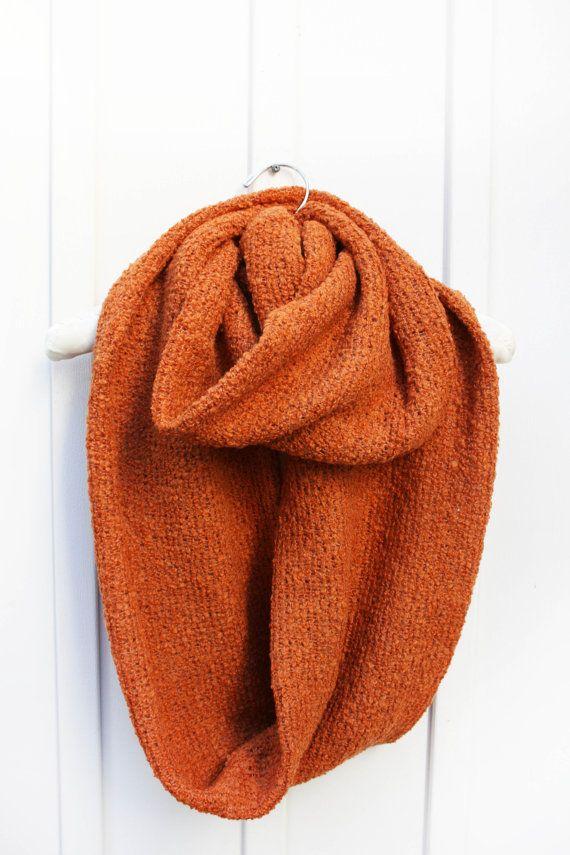Knitted Scarf, Oversized, Burnt Orange, Circle Scarf