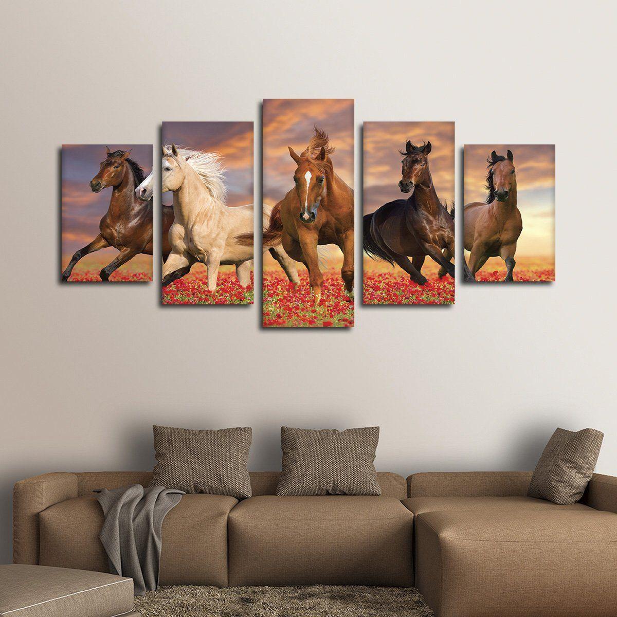 Mustang Horses Wall Art In 2020 Horse Wall Art Animal Wall Art Canvas Wall Art