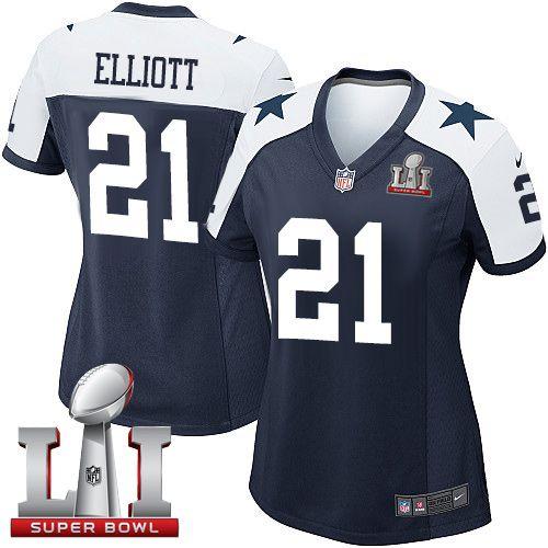 Nike Dallas Cowboys Women s  21 Ezekiel Elliott Elite Navy Blue Alternate  Super Bowl LI Throwback NFL Jersey 68200ddc8
