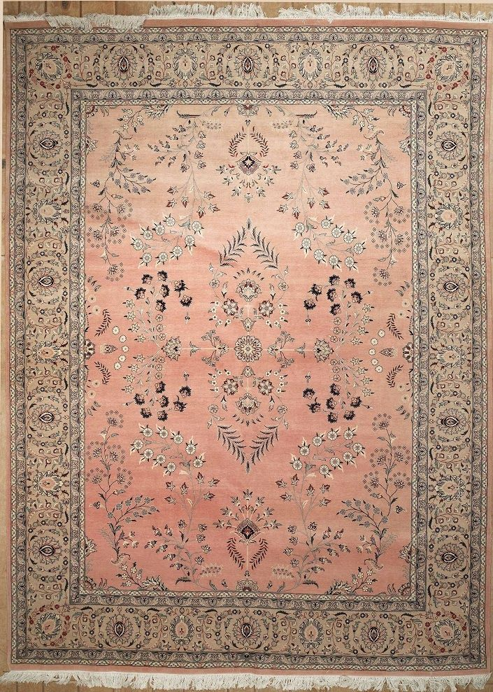 Semi Antique Persian Saruk Area Rug Pink Carpet Living Room
