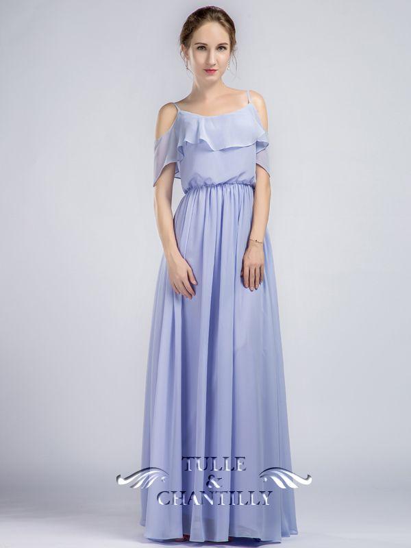 Off Shoulder Ruffle Chiffon Dress