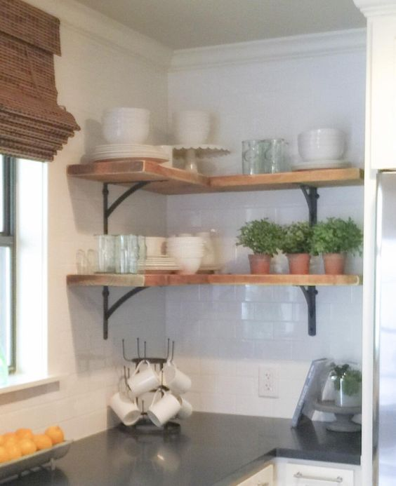 Shanty Sisters On Instagram Simple Corner Shelves We Bought 4 Inexpensive Metal Brackets And One 2x12 Boa Corner Shelves Kitchen Kitchen Shelf Decor Shelves