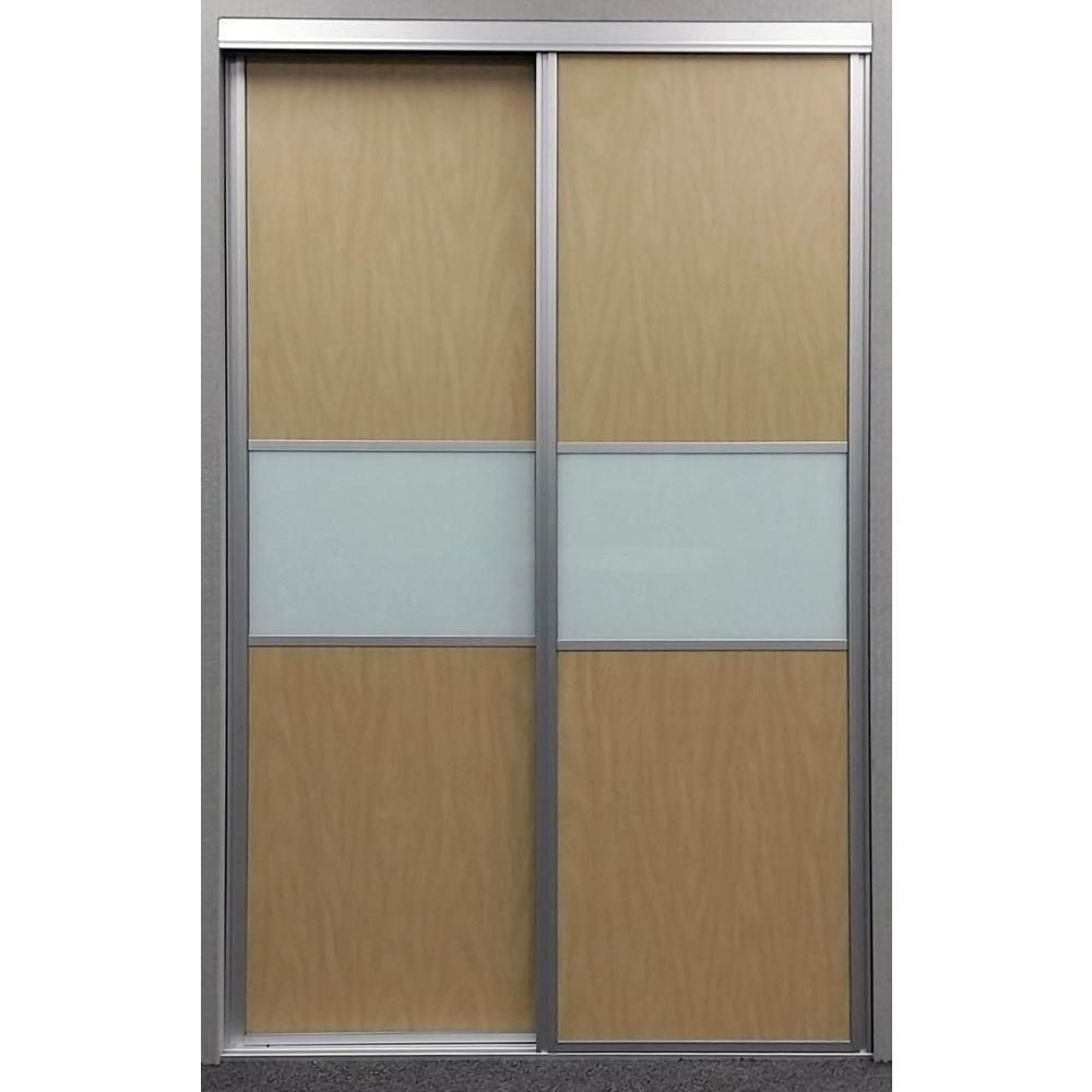 Contractors Wardrobe 48 In X 81 In Matrix Maple And White Painted Glass Aluminum Interio Sliding Doors Interior Aluminium Sliding Doors Contractors Wardrobe