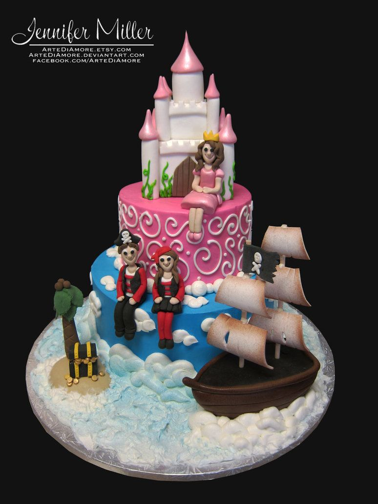 Pirate and Princess Cake by ~ArteDiAmore on deviantART