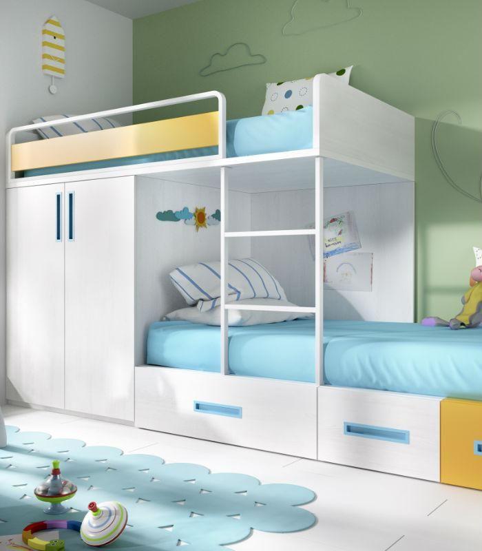 S cale partido a las habitaciones peque as literas tren for Habitaciones juveniles funcionales