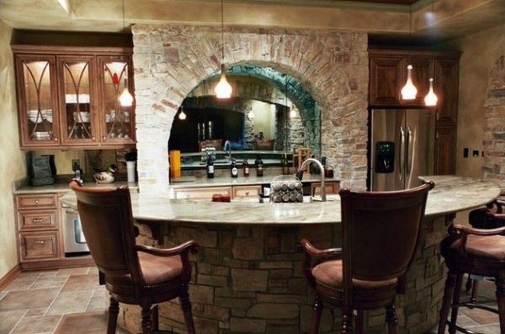 Classic Home Bar Design With Curved Stone Bar Table And Traditional ...