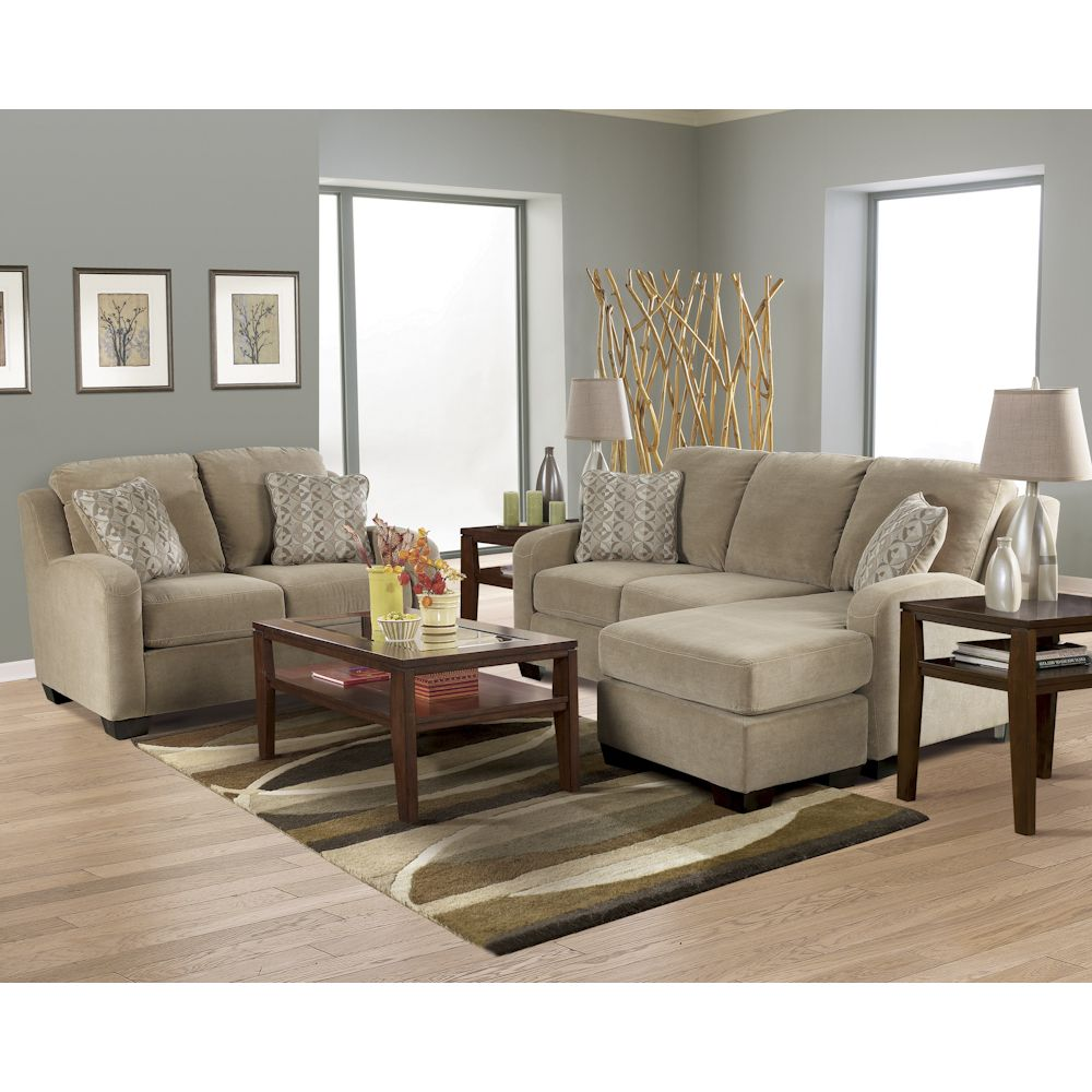 Circa Taupe Living Room Sofa With Chaise Loveseat Chair