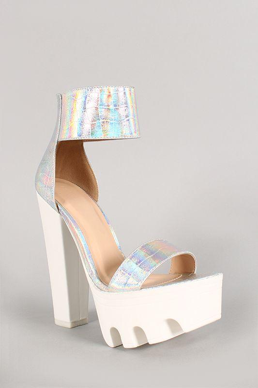 14d29a0a93c Wild Diva Lounge Hologram Open Toe Lug Sole Platform Heel