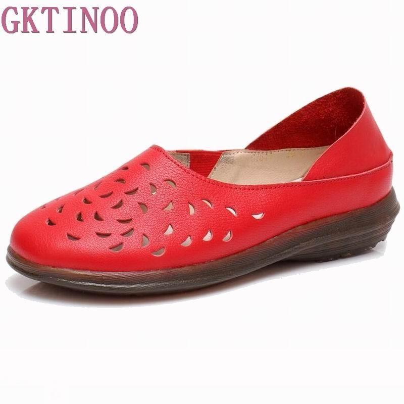 40663d6e729 GKTINOO Hollow Out Breathable Summer Shoes Women Flats Genuine Leather Soft Women  Loafers Ladies Moccasins Female