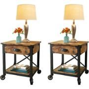 Better Homes and Gardens Rustic Country Side Table, Antiqued Black/Pine - Walmart.com