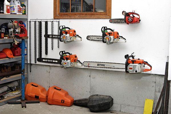 Chainsaw Storage Garage Storage Storage Shed Organization Workshop Storage