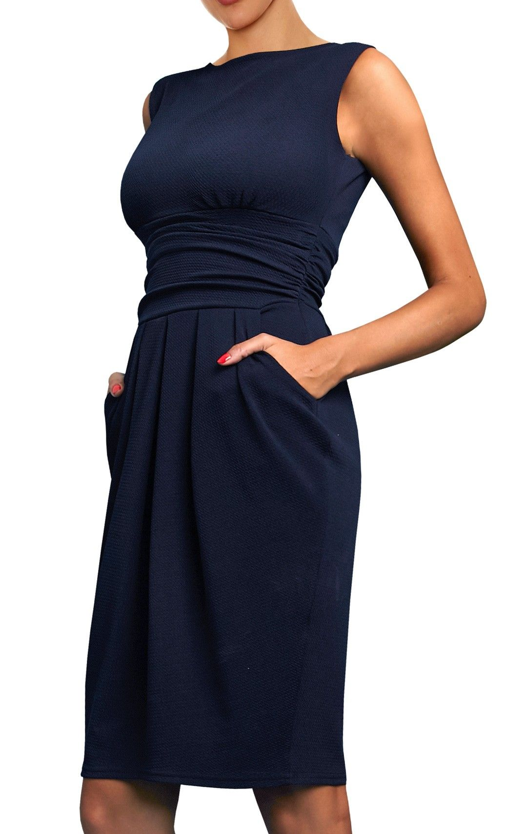 Sydney Navy Sydney Is A Perfect Example Of A Dress That Becomes Your Wardrobe Essential As Dresses For Work Sleeveless Work Dress Beautiful Dresses For Women
